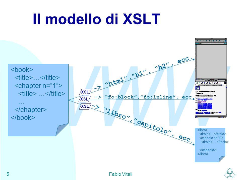 WWW Fabio Vitali5 Il modello di XSLT … … … … -> html , h1 , h2 , ecc.