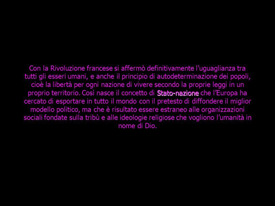 Stato-nazione Con la Rivoluzione francese si affermò definitivamente l'uguaglianza tra tutti gli esseri umani, e anche il principio di autodeterminazione dei popoli, cioè la libertà per ogni nazione di vivere secondo la proprie leggi in un proprio territorio.