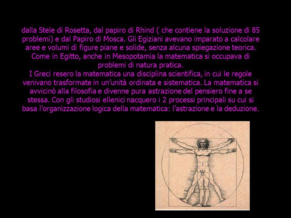 dalla Stele di Rosetta, dal papiro di Rhind ( che contiene la soluzione di 85 problemi) e dal Papiro di Mosca. Gli Egiziani avevano imparato a calcola