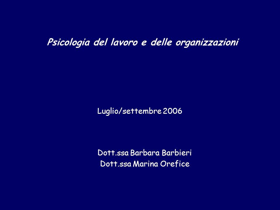 Dott.ssa Barbara Barbieri Dott.ssa Marina Orefice Luglio/settembre 2006 Psicologia del lavoro e delle organizzazioni