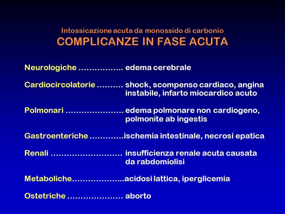 Intossicazione acuta da monossido di carbonio COMPLICANZE IN FASE ACUTA Neurologiche ……………..edema cerebrale Cardiocircolatorie ……….shock, scompenso ca