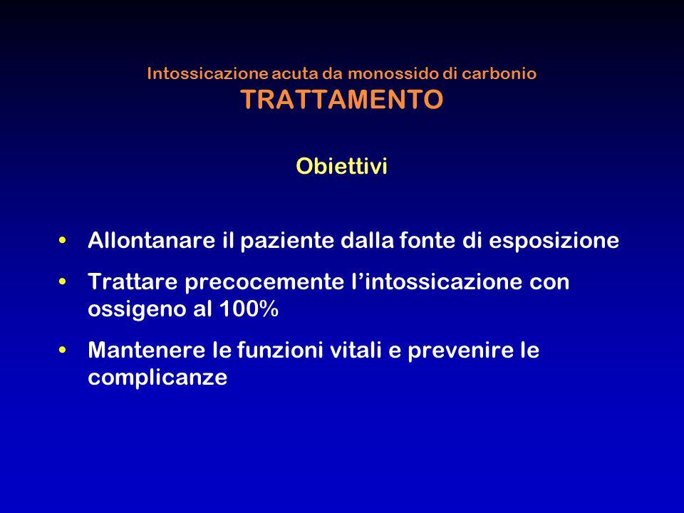 Intossicazione acuta da monossido di carbonio TRATTAMENTO Obiettivi Allontanare il paziente dalla fonte di esposizione Trattare precocemente l'intossi