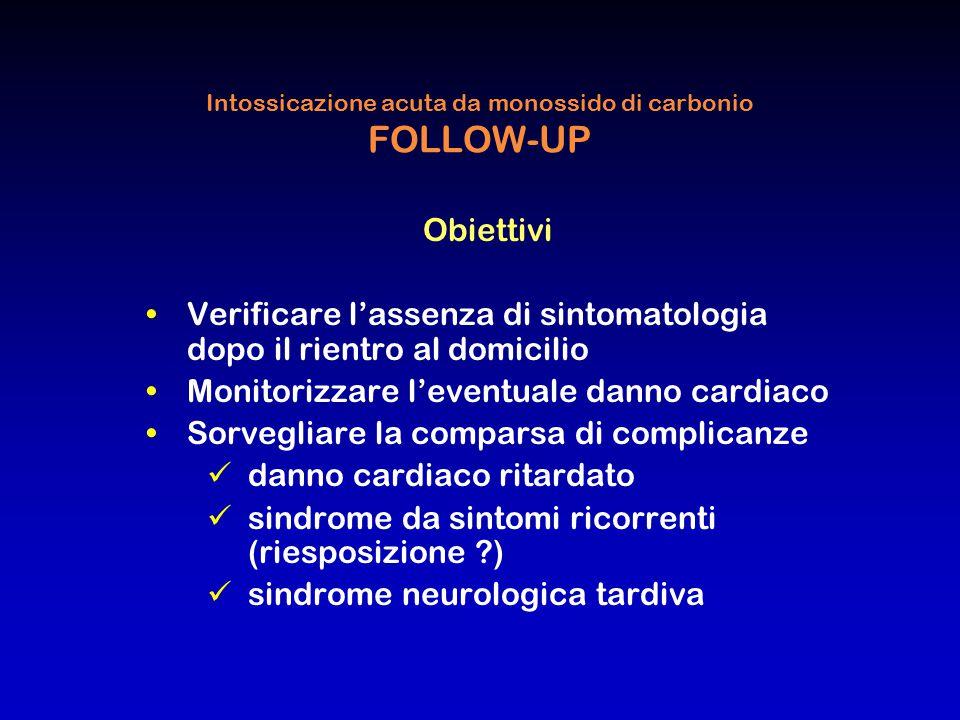 Intossicazione acuta da monossido di carbonio FOLLOW-UP Obiettivi Verificare l'assenza di sintomatologia dopo il rientro al domicilio Monitorizzare l'
