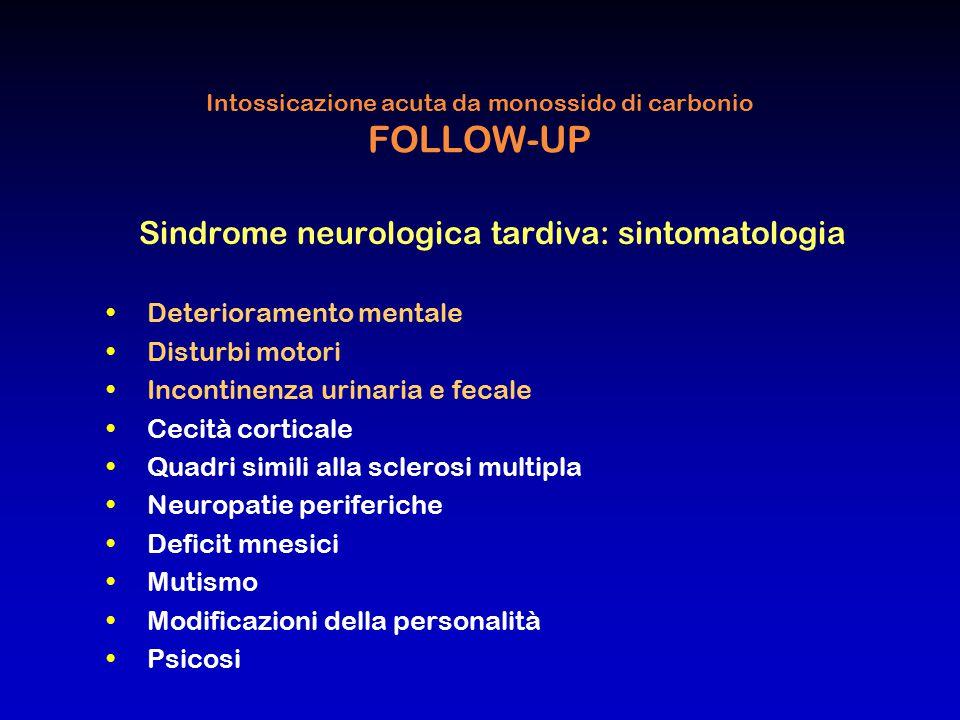 Intossicazione acuta da monossido di carbonio FOLLOW-UP Sindrome neurologica tardiva: sintomatologia Deterioramento mentale Disturbi motori Incontinen