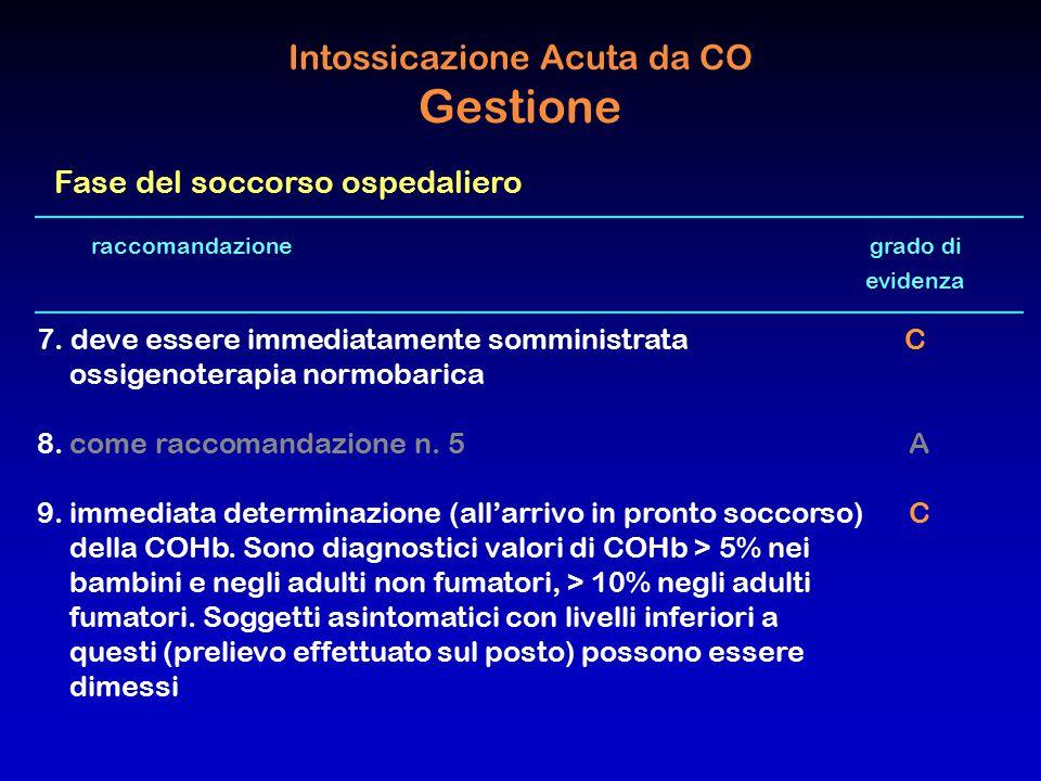 raccomandazione grado di evidenza 7. deve essere immediatamente somministrata C ossigenoterapia normobarica 8.come raccomandazione n. 5 A 9.immediata