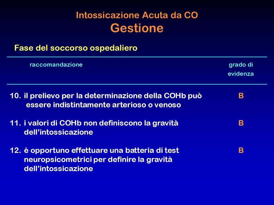 raccomandazione grado di evidenza 10. il prelievo per la determinazione della COHb può B essere indistintamente arterioso o venoso 11.i valori di COHb