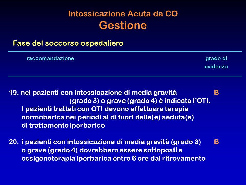 raccomandazione grado di evidenza 19. nei pazienti con intossicazione di media gravità B (grado 3) o grave (grado 4) è indicata l'OTI. I pazienti trat