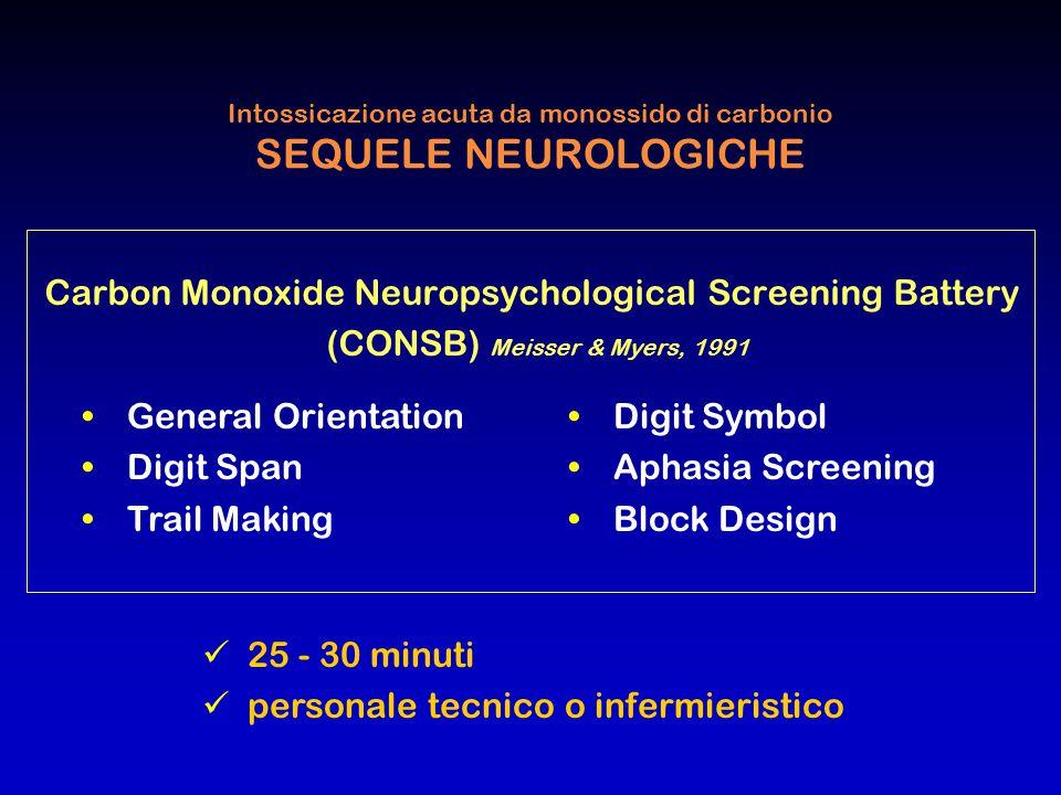 Intossicazione acuta da monossido di carbonio SEQUELE NEUROLOGICHE Carbon Monoxide Neuropsychological Screening Battery (CONSB) Meisser & Myers, 1991
