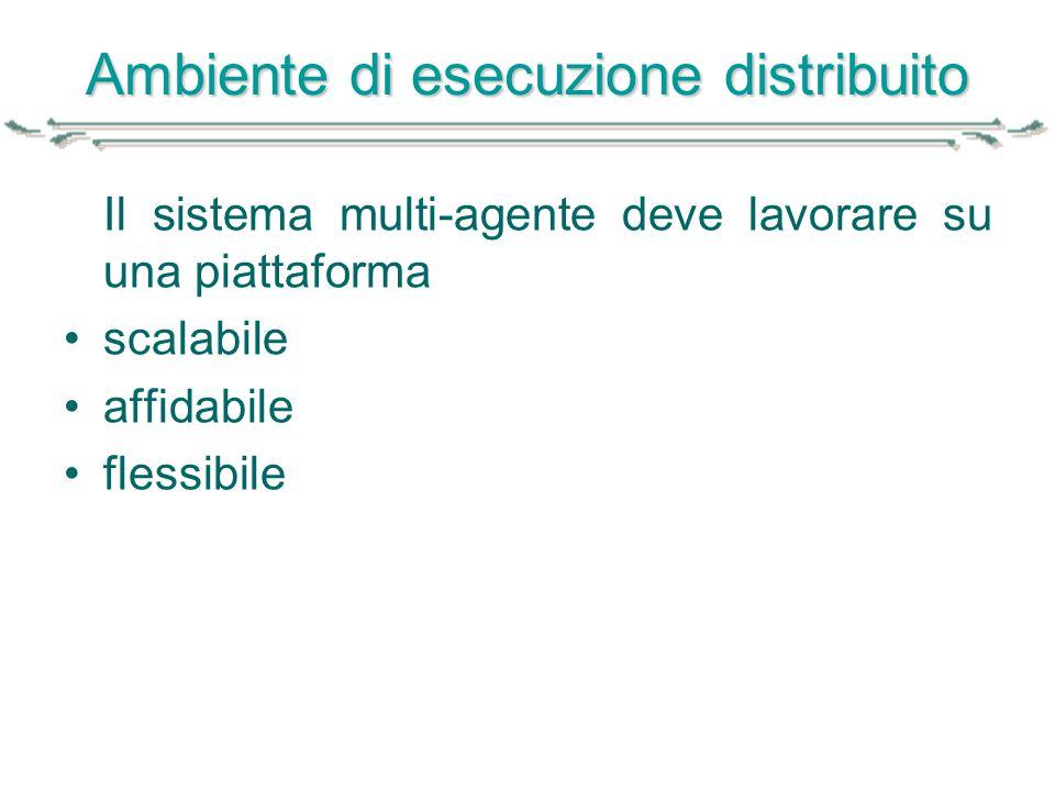 Ambiente di esecuzione distribuito Il sistema multi-agente deve lavorare su una piattaforma scalabile affidabile flessibile