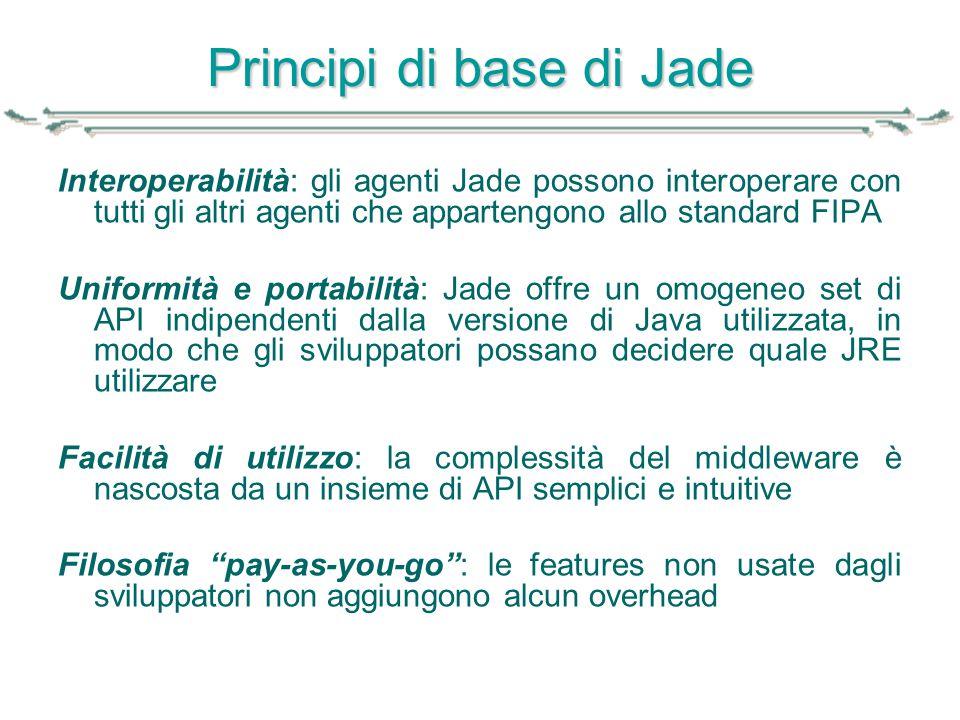 Principi di base di Jade Interoperabilità: gli agenti Jade possono interoperare con tutti gli altri agenti che appartengono allo standard FIPA Uniform