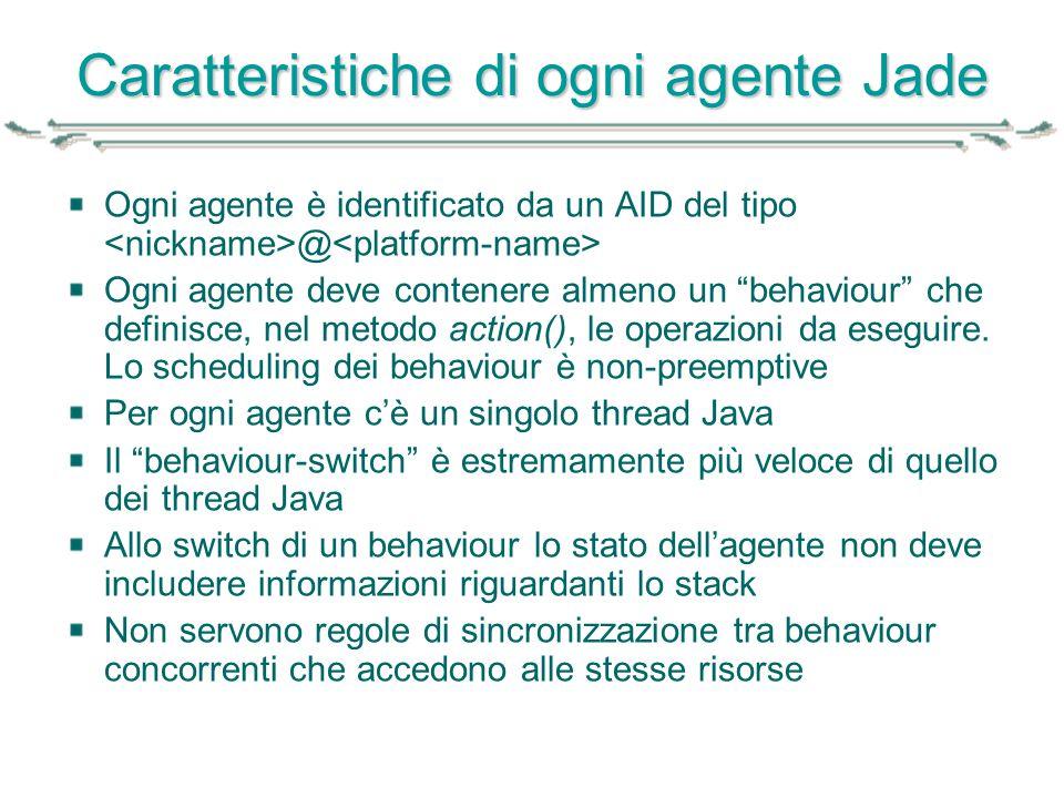"""Caratteristiche di ogni agente Jade Ogni agente è identificato da un AID del tipo @ Ogni agente deve contenere almeno un """"behaviour"""" che definisce, ne"""