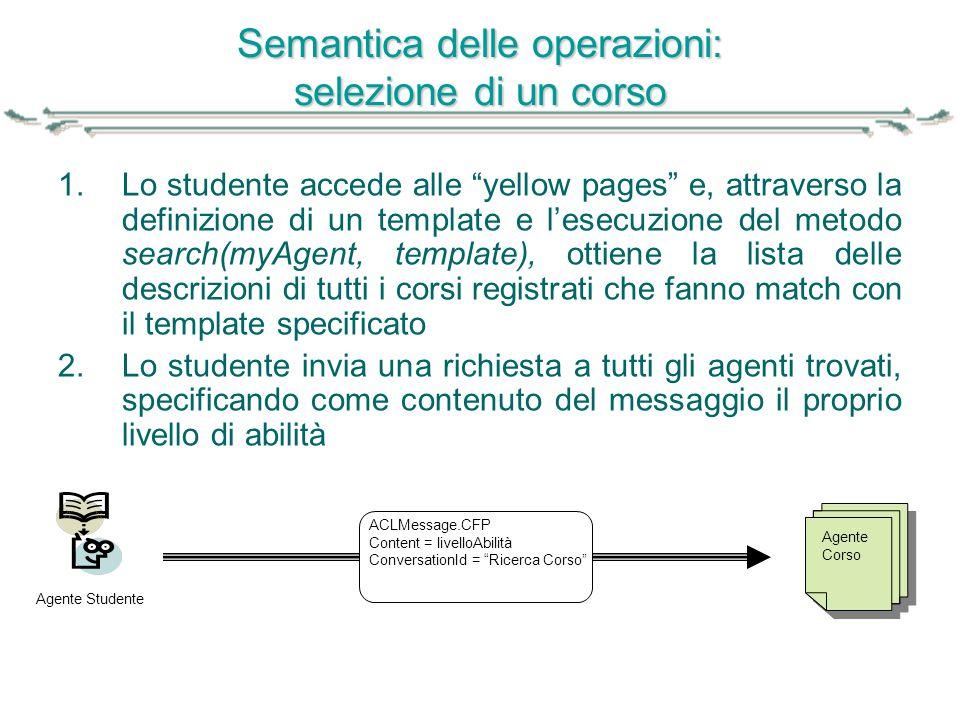 """Semantica delle operazioni: selezione di un corso 1.Lo studente accede alle """"yellow pages"""" e, attraverso la definizione di un template e l'esecuzione"""