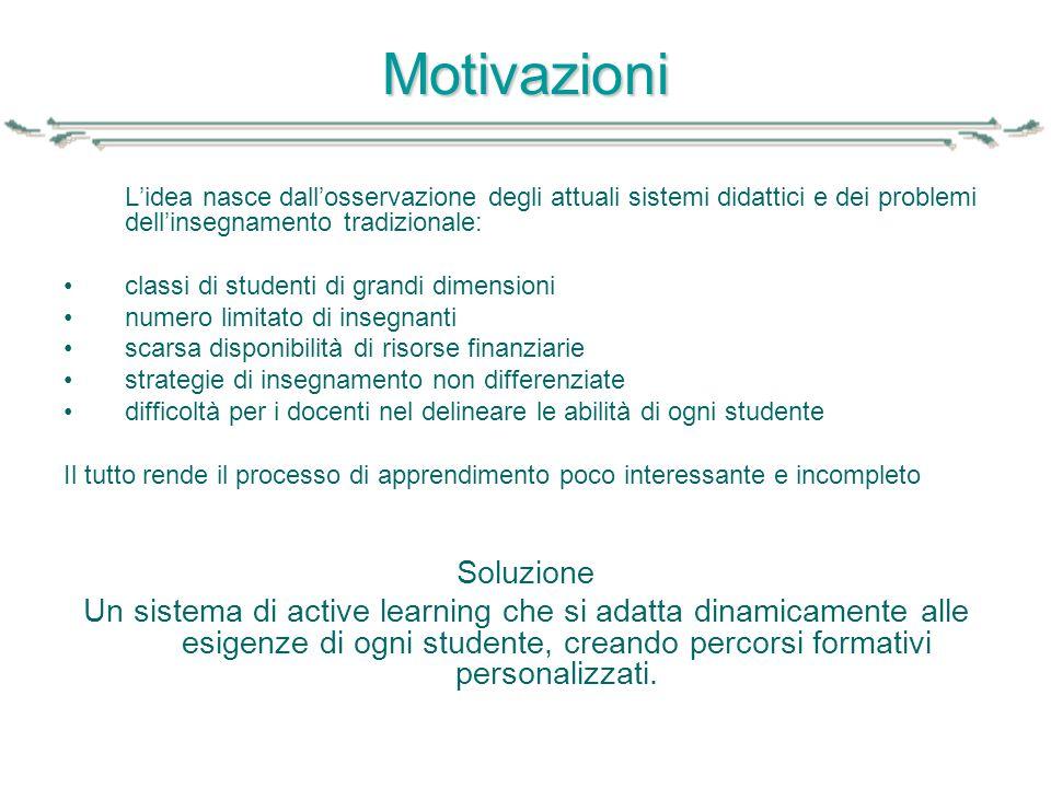 Motivazioni L'idea nasce dall'osservazione degli attuali sistemi didattici e dei problemi dell'insegnamento tradizionale: classi di studenti di grandi