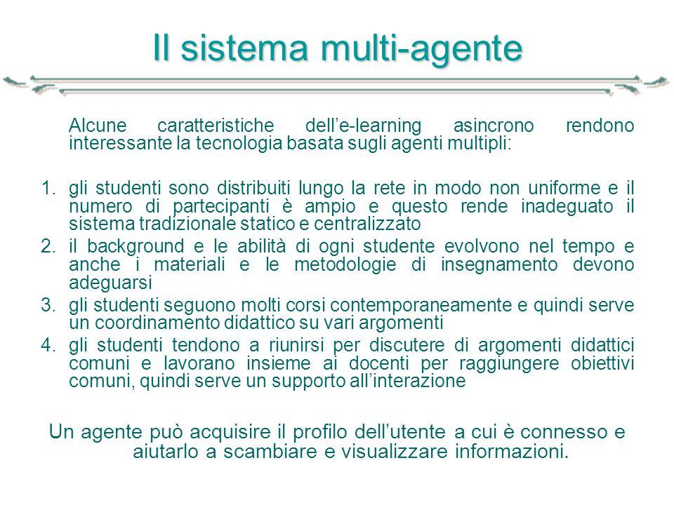 Il sistema multi-agente Alcune caratteristiche dell'e-learning asincrono rendono interessante la tecnologia basata sugli agenti multipli: 1.gli studen