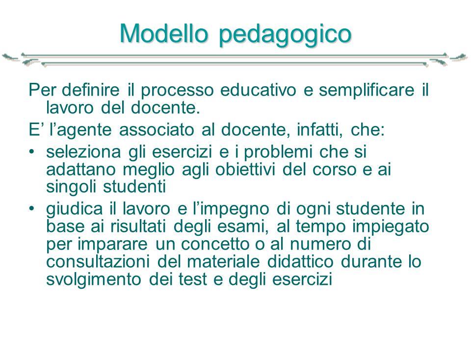 Modello pedagogico Per definire il processo educativo e semplificare il lavoro del docente. E' l'agente associato al docente, infatti, che: seleziona