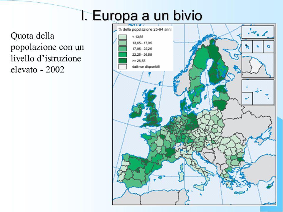 I. Europa a un bivio Quota della popolazione con un livello d'istruzione elevato - 2002