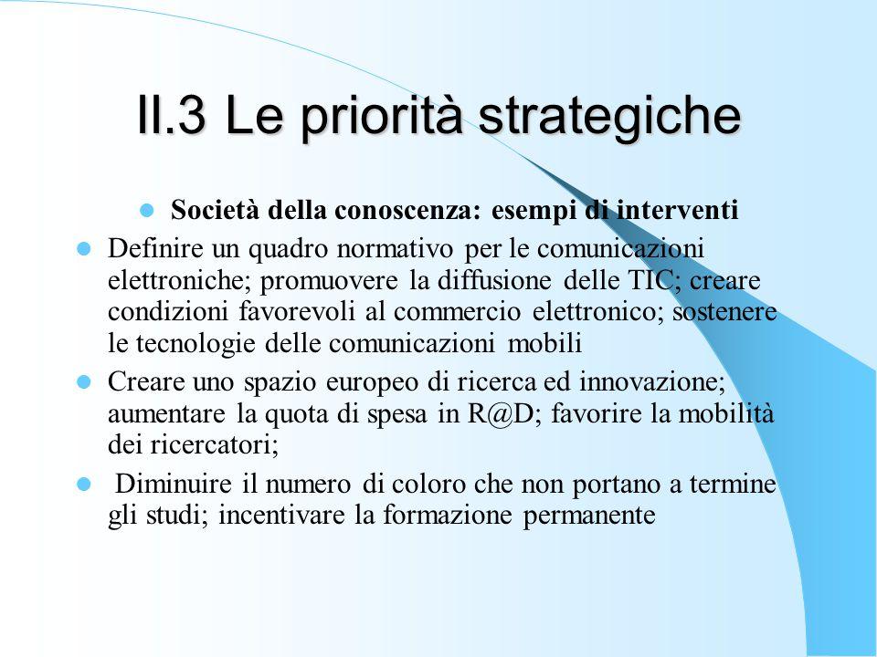 II.3 Le priorità strategiche Società della conoscenza: esempi di interventi Definire un quadro normativo per le comunicazioni elettroniche; promuovere la diffusione delle TIC; creare condizioni favorevoli al commercio elettronico; sostenere le tecnologie delle comunicazioni mobili Creare uno spazio europeo di ricerca ed innovazione; aumentare la quota di spesa in R@D; favorire la mobilità dei ricercatori; Diminuire il numero di coloro che non portano a termine gli studi; incentivare la formazione permanente
