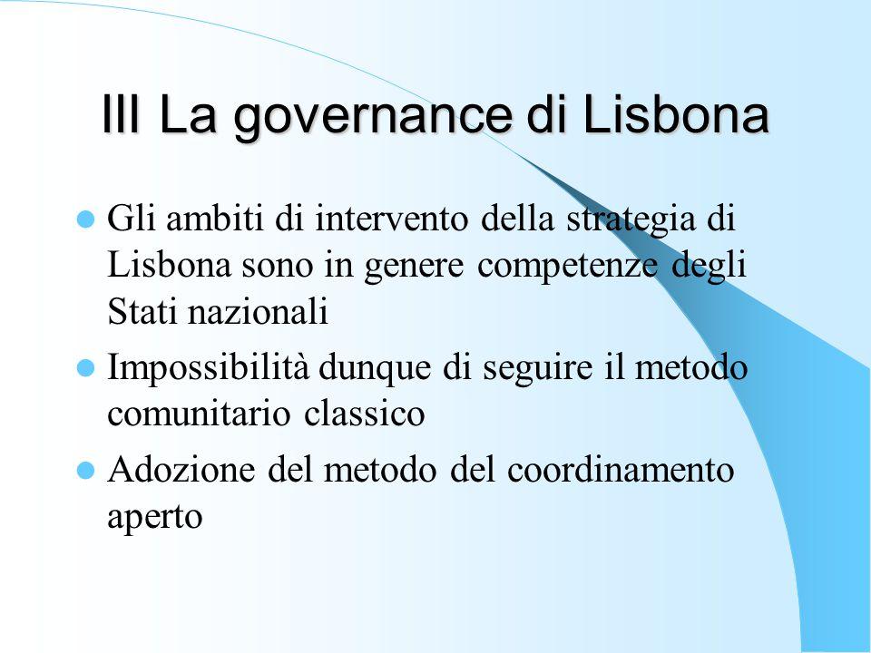 III La governance di Lisbona Gli ambiti di intervento della strategia di Lisbona sono in genere competenze degli Stati nazionali Impossibilità dunque di seguire il metodo comunitario classico Adozione del metodo del coordinamento aperto