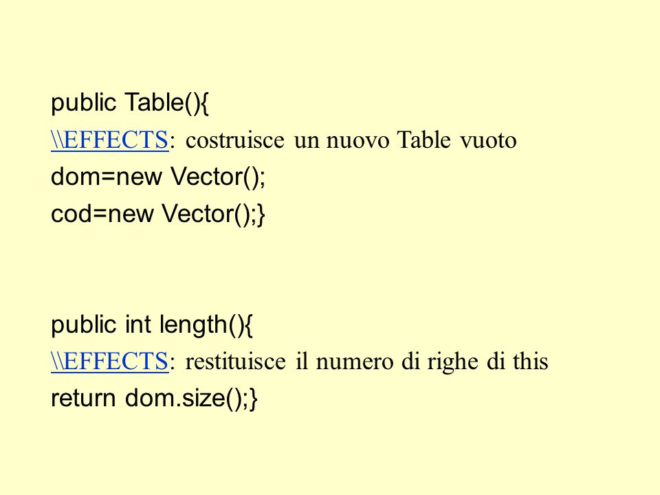 public Table(){ \\EFFECTS\\EFFECTS: costruisce un nuovo Table vuoto dom=new Vector(); cod=new Vector();} public int length(){ \\EFFECTS\\EFFECTS: restituisce il numero di righe di this return dom.size();}