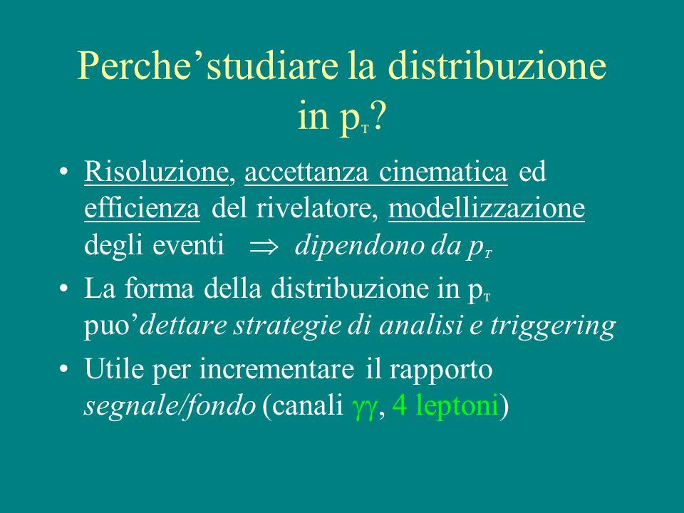 Perche'studiare la distribuzione in p T .