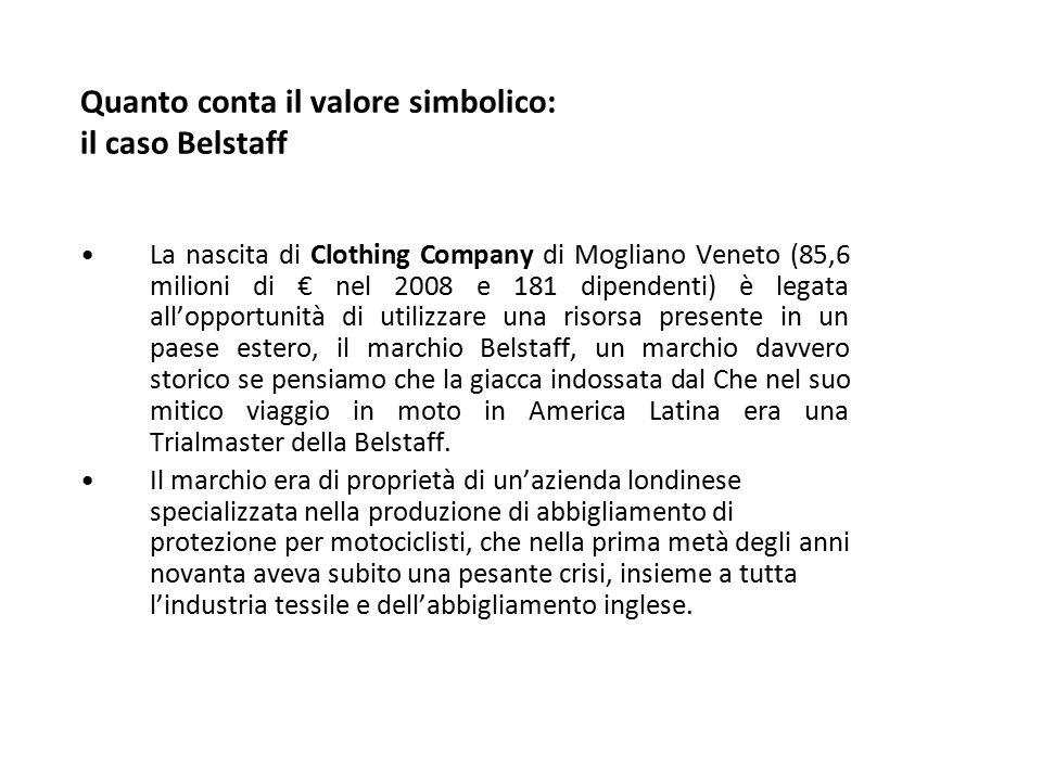 Quanto conta il valore simbolico: il caso Belstaff La nascita di Clothing Company di Mogliano Veneto (85,6 milioni di € nel 2008 e 181 dipendenti) è l