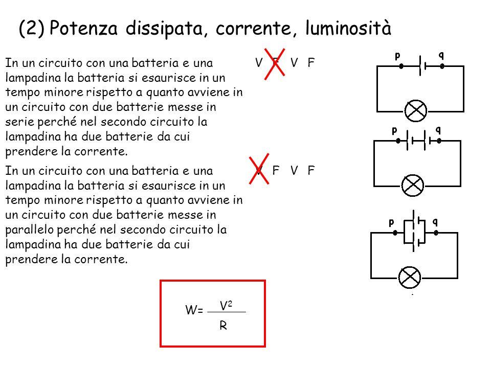 (2) Potenza dissipata, corrente, luminosità In un circuito con una batteria e una lampadina la batteria si esaurisce in un tempo minore rispetto a qua