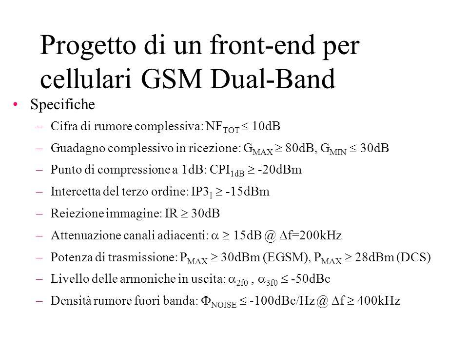 Progetto di un front-end per cellulari GSM Dual-Band Specifiche –Cifra di rumore complessiva: NF TOT  10dB –Guadagno complessivo in ricezione: G MAX