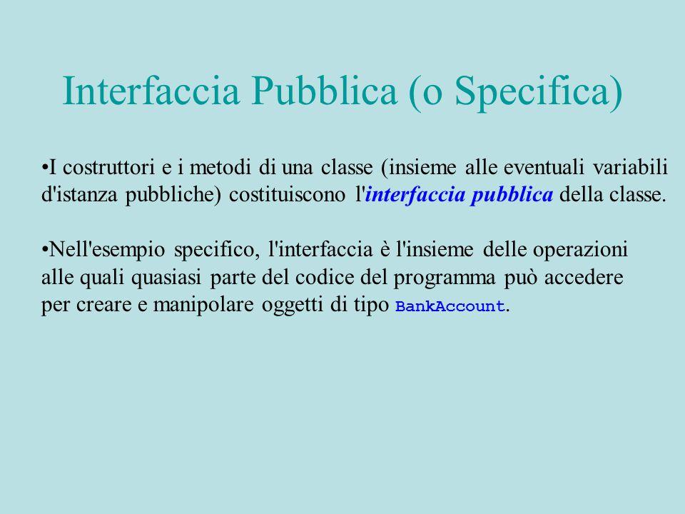 I costruttori e i metodi di una classe (insieme alle eventuali variabili d istanza pubbliche) costituiscono l interfaccia pubblica della classe.