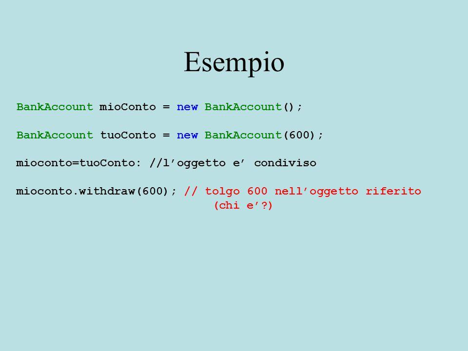 Esempio BankAccount mioConto = new BankAccount(); BankAccount tuoConto = new BankAccount(600); mioconto=tuoConto: //l'oggetto e' condiviso mioconto.withdraw(600); // tolgo 600 nell'oggetto riferito (chi e' )