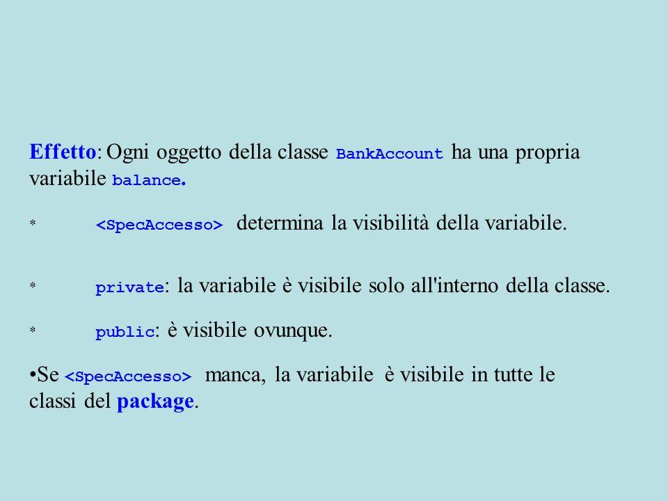 Effetto: Ogni oggetto della classe BankAccount ha una propria variabile balance.