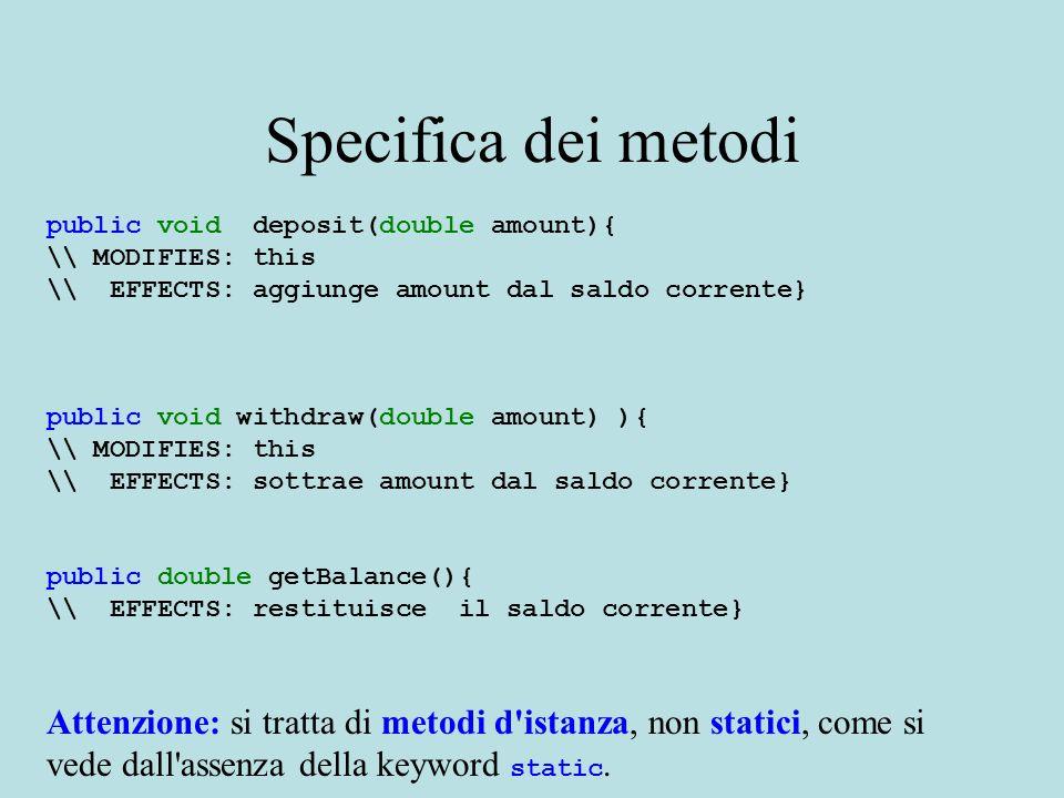 Dichiarazione di una classe Lo schema generale di dichiarazione di una classe in Java è il seguente: class { } NOTA: L ordine delle dichiarazioni all interno del corpo di una classe non è importante.