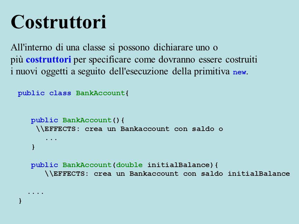 Esempio: BankAccount tuoConto = new BankAccount(600);...