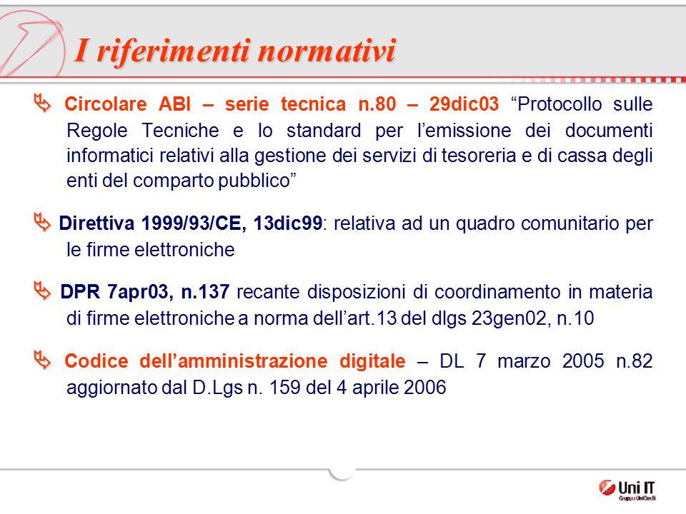 """  Circolare ABI – serie tecnica n.80 – 29dic03 """"Protocollo sulle Regole Tecniche e lo standard per l'emissione dei documenti informatici relativi al"""