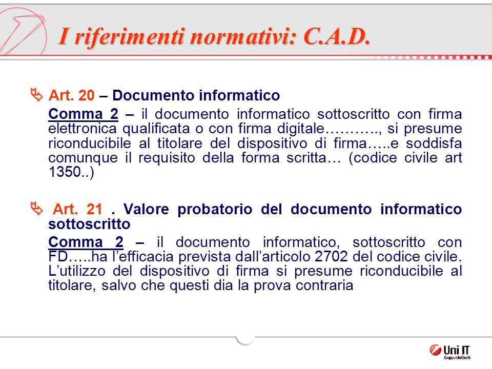 I riferimenti normativi: C.A.D.   Art. 20 – Documento informatico Comma 2 – il documento informatico sottoscritto con firma elettronica qualificata