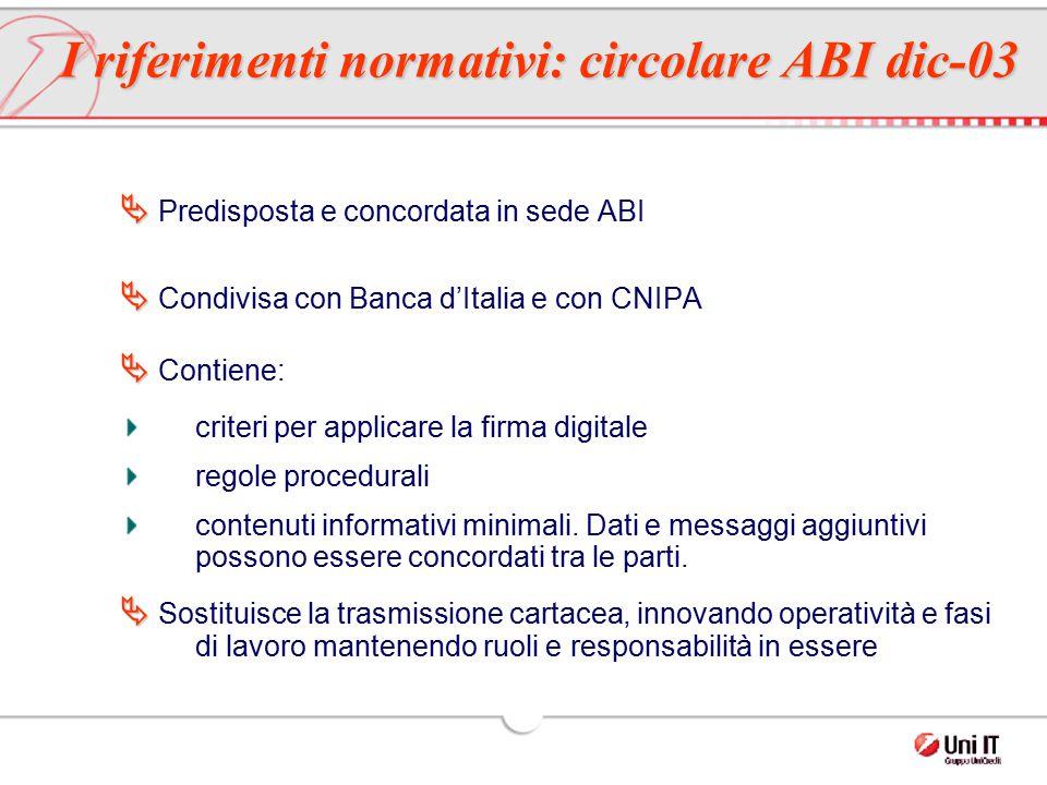   Predisposta e concordata in sede ABI   Condivisa con Banca d'Italia e con CNIPA   Contiene: criteri per applicare la firma digitale regole pro