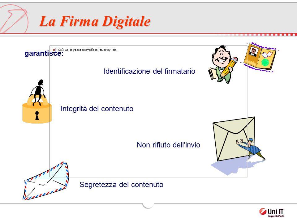 garantisce: Identificazione del firmatario Integrità del contenuto Non rifiuto dell'invio Segretezza del contenuto La Firma Digitale