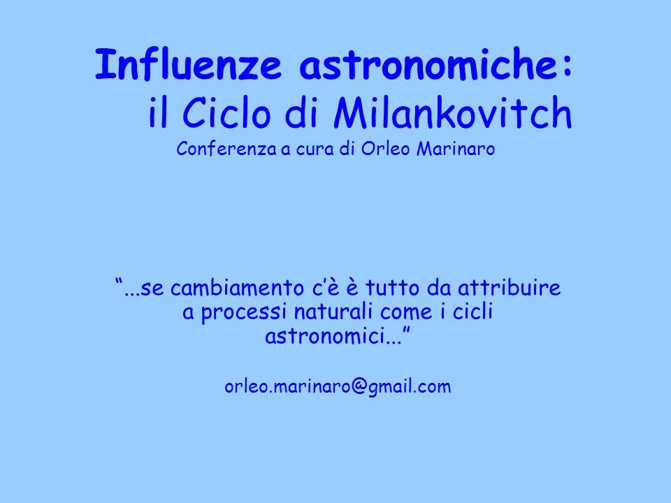 """Influenze astronomiche: il Ciclo di Milankovitch Conferenza a cura di Orleo Marinaro """"...se cambiamento c'è è tutto da attribuire a processi naturali"""