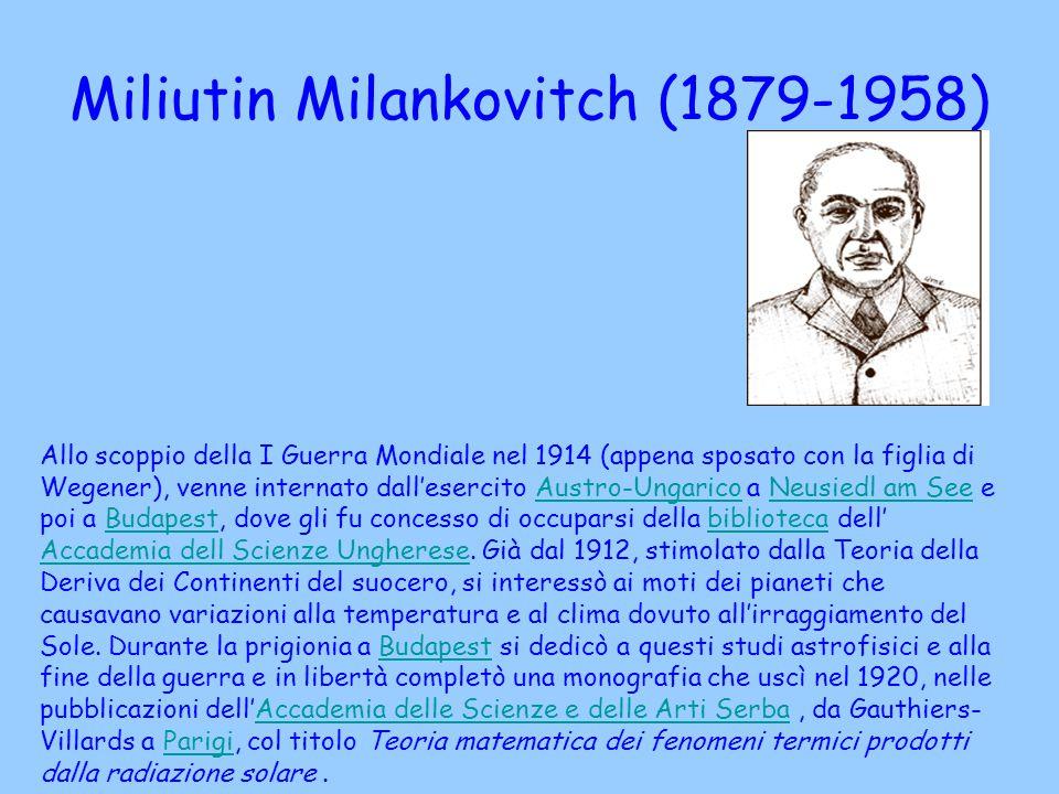 Miliutin Milankovitch (1879-1958) Allo scoppio della I Guerra Mondiale nel 1914 (appena sposato con la figlia di Wegener), venne internato dall'eserci