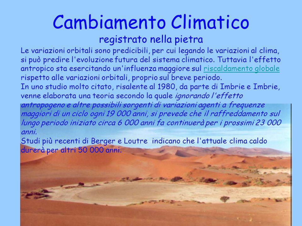 Cambiamento Climatico registrato nella pietra Le variazioni orbitali sono predicibili, per cui legando le variazioni al clima, si può predire l'evoluz