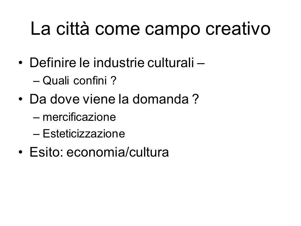 La città come campo creativo Definire le industrie culturali – –Quali confini .