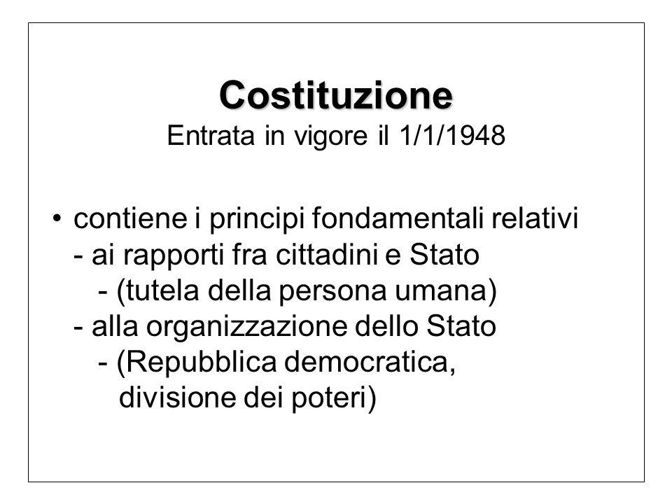 Costituzione Costituzione Entrata in vigore il 1/1/1948 contiene i principi fondamentali relativi - ai rapporti fra cittadini e Stato - (tutela della persona umana) - alla organizzazione dello Stato - (Repubblica democratica, divisione dei poteri)