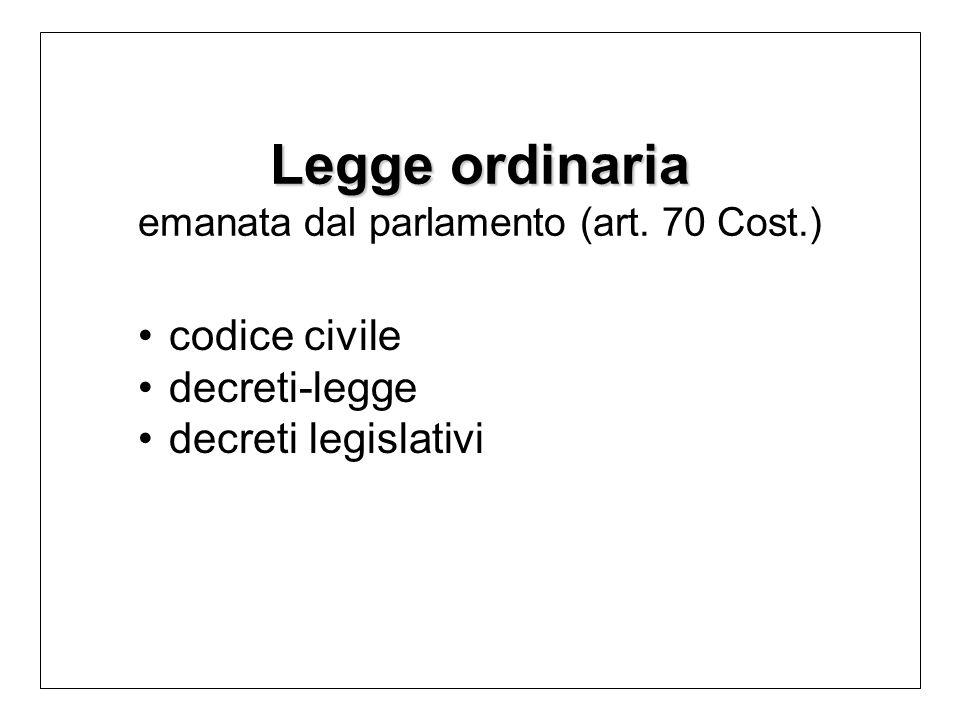 Legge ordinaria Legge ordinaria emanata dal parlamento (art.