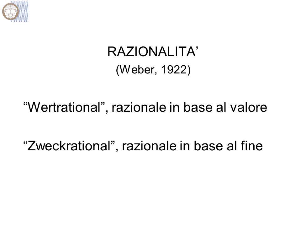 "RAZIONALITA' (Weber, 1922) ""Wertrational"", razionale in base al valore ""Zweckrational"", razionale in base al fine"