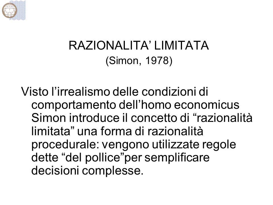 """RAZIONALITA' LIMITATA (Simon, 1978) Visto l'irrealismo delle condizioni di comportamento dell'homo economicus Simon introduce il concetto di """"razional"""