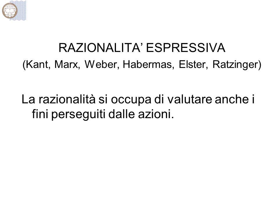 RAZIONALITA' ESPRESSIVA (Kant, Marx, Weber, Habermas, Elster, Ratzinger) La razionalità si occupa di valutare anche i fini perseguiti dalle azioni.
