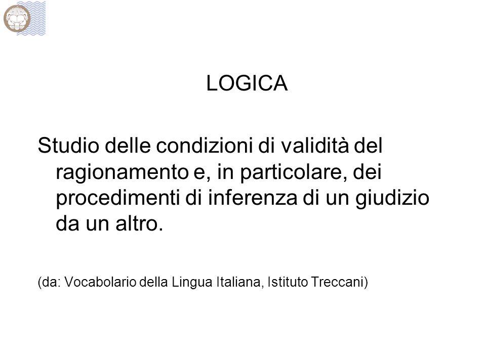 LOGICA Studio delle condizioni di validità del ragionamento e, in particolare, dei procedimenti di inferenza di un giudizio da un altro. (da: Vocabola