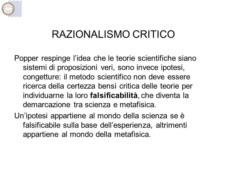 RAZIONALISMO CRITICO Popper respinge l'idea che le teorie scientifiche siano sistemi di proposizioni veri, sono invece ipotesi, congetture: il metodo