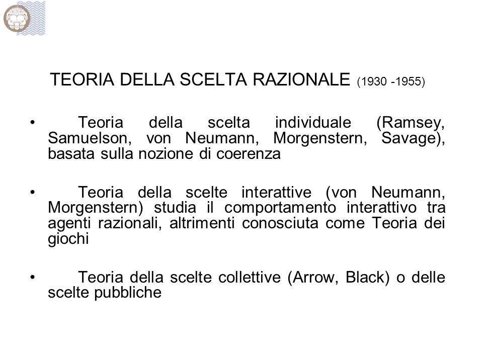 TEORIA DELLA SCELTA RAZIONALE (1930 -1955) Teoria della scelta individuale (Ramsey, Samuelson, von Neumann, Morgenstern, Savage), basata sulla nozione