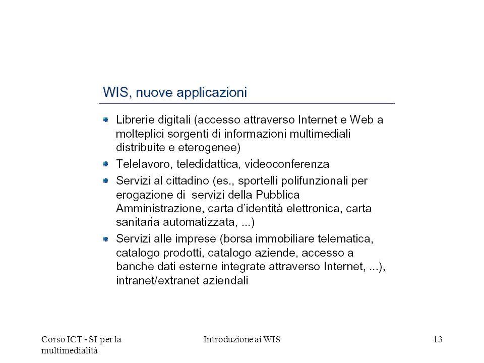 Corso ICT - SI per la multimedialità Introduzione ai WIS13