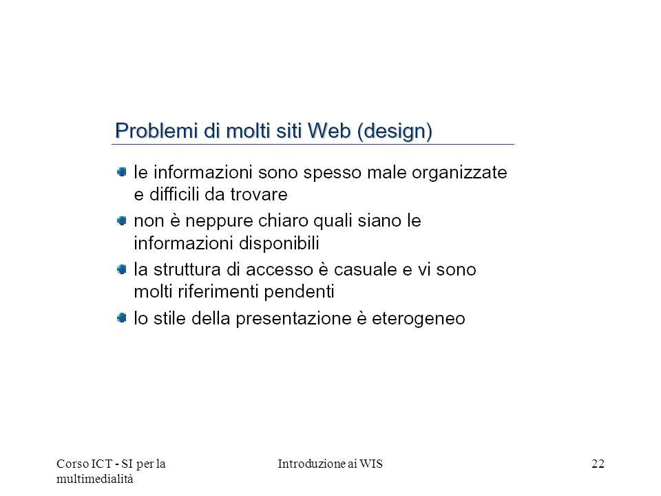 Corso ICT - SI per la multimedialità Introduzione ai WIS22
